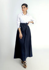 Paper Bag Skirt - Navy Blue