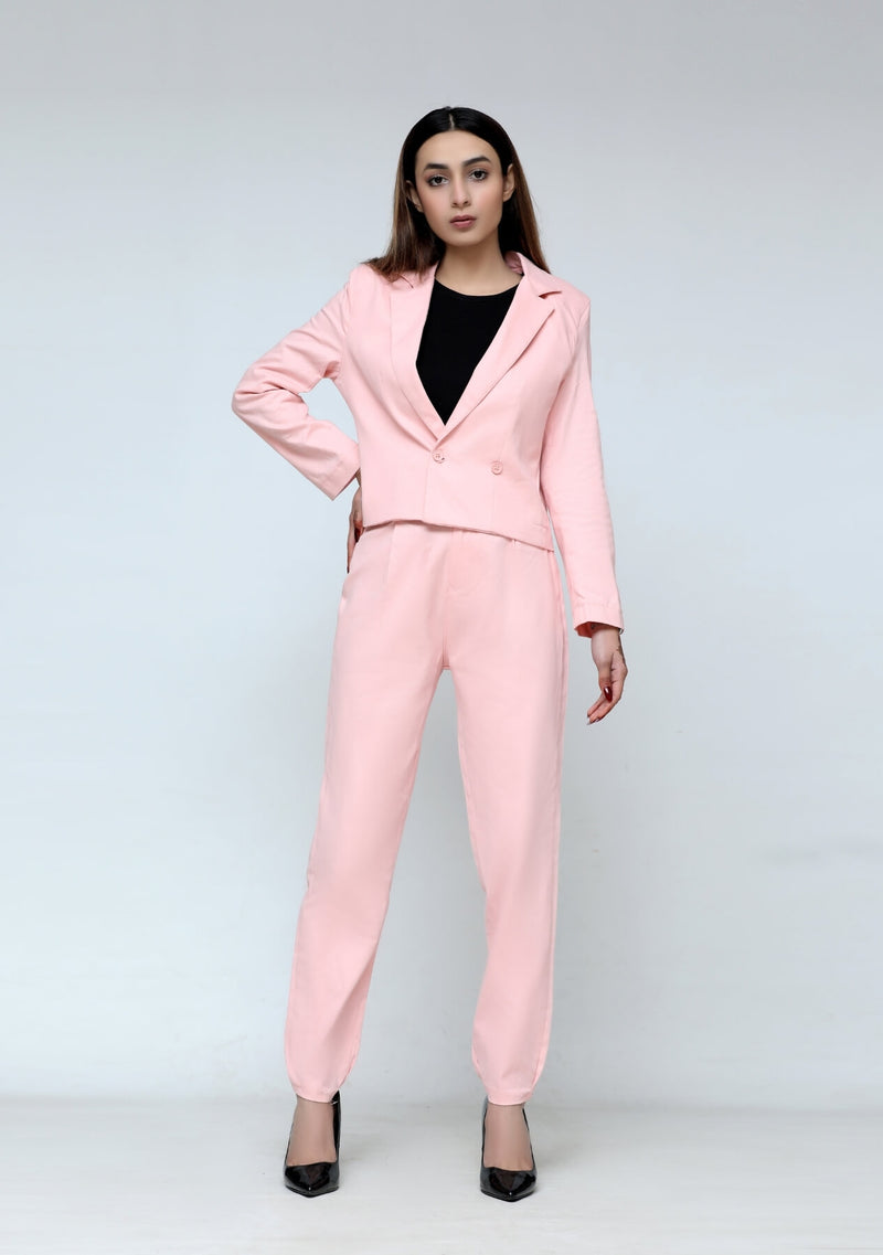 Darted pant in light pink
