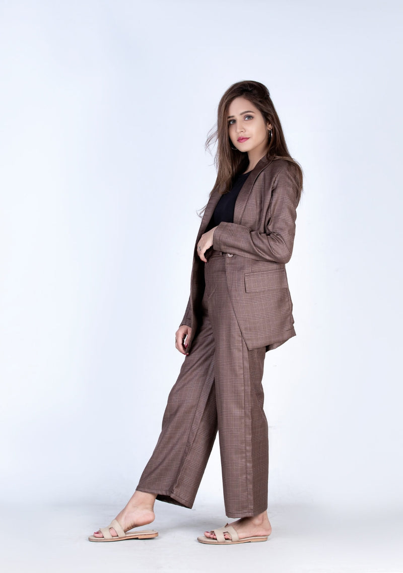 High Rise Wide Leg Pant in brown grid check