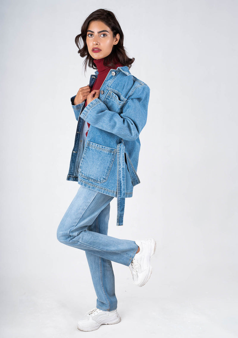 Belted Long Denim Jacket