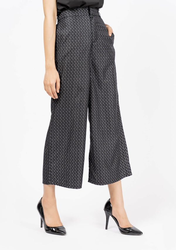 High Waisted Culotte - Black White Printed