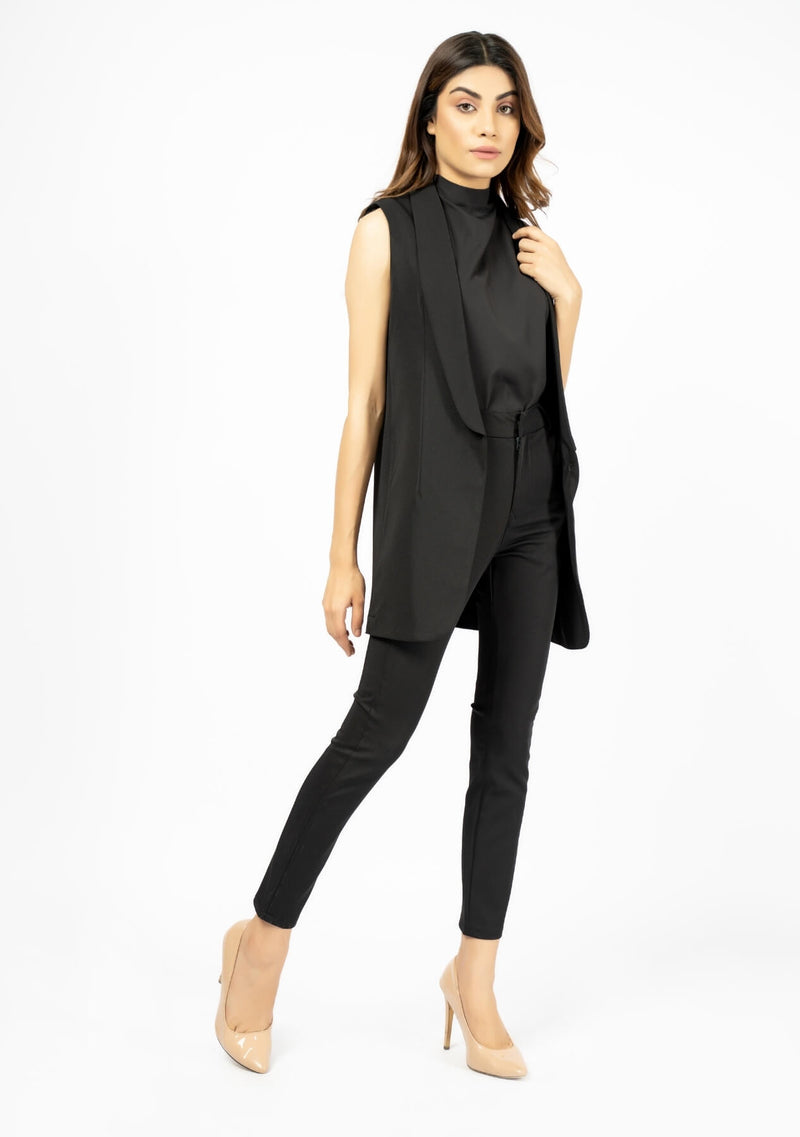 Sleeveless Blazer Vest - Black