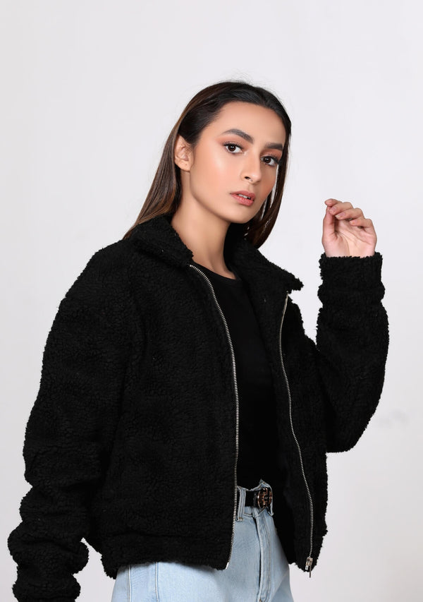 Teddy Faux Fur Bomber Jacket - black