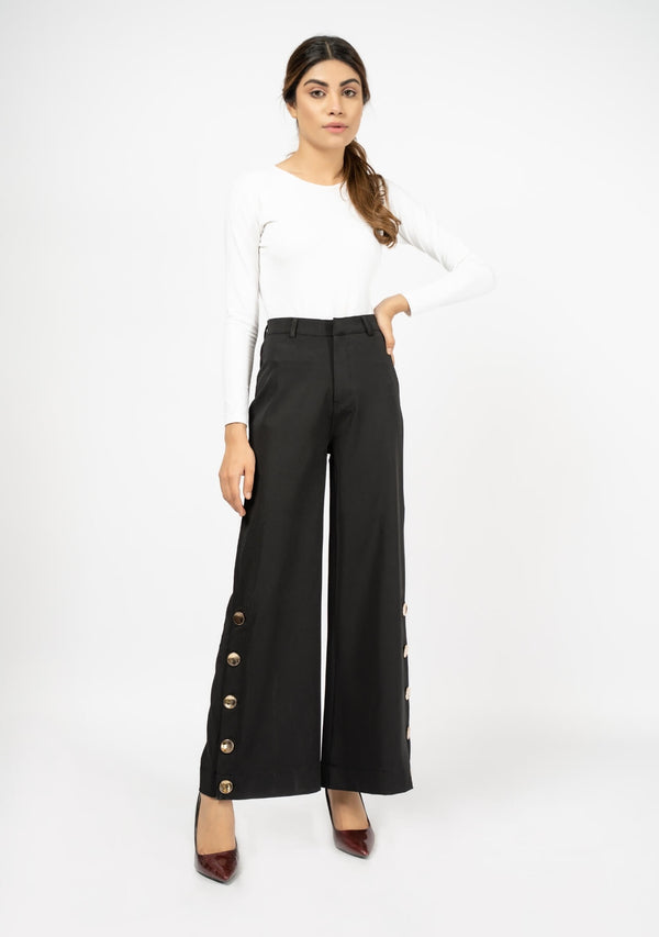 Wide Leg Side Slit Pant - Black
