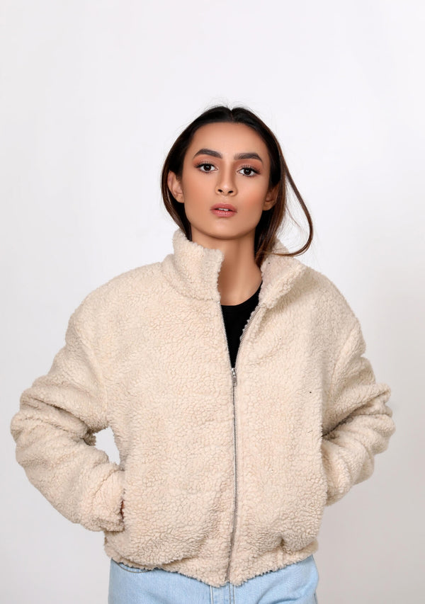 Teddy Faux Fur Bomber Jacket - beige