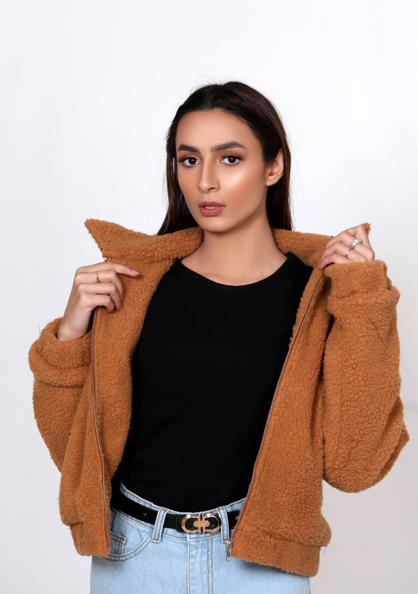 Teddy Faux Fur Bomber Jacket - camel