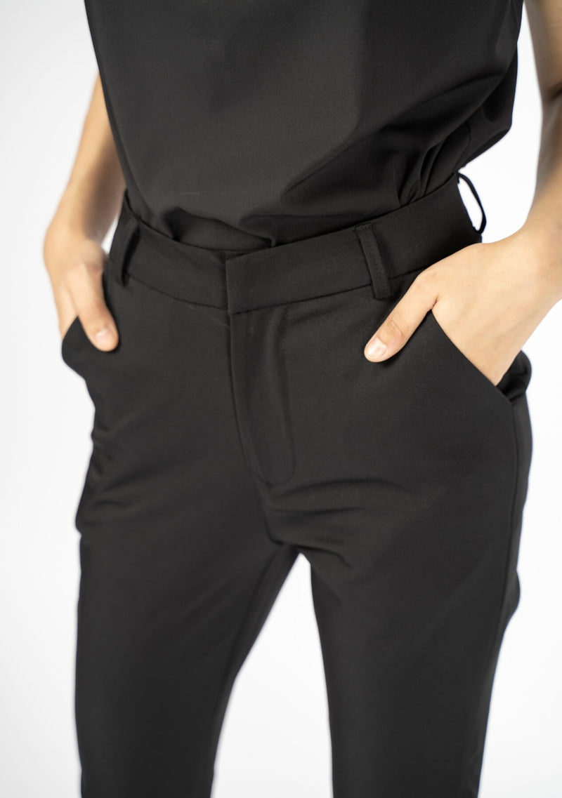Straight Pant with Pocket - Black Polyester