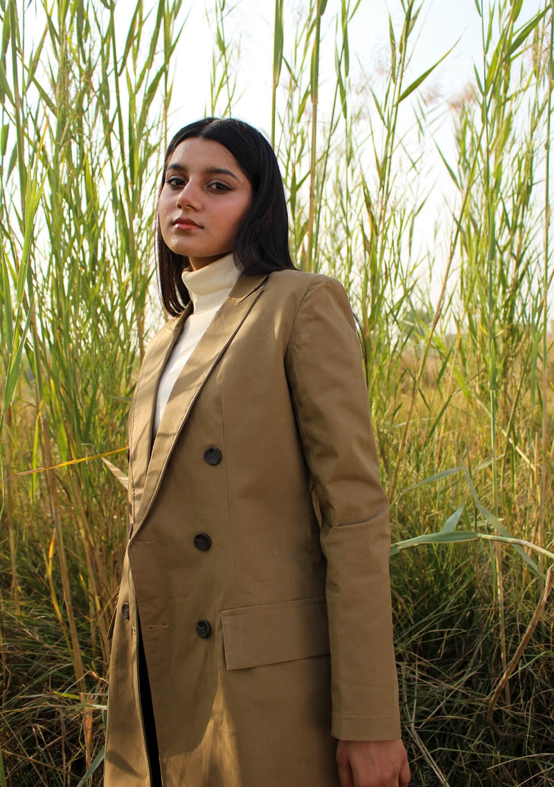Trench Coat - camel brown color