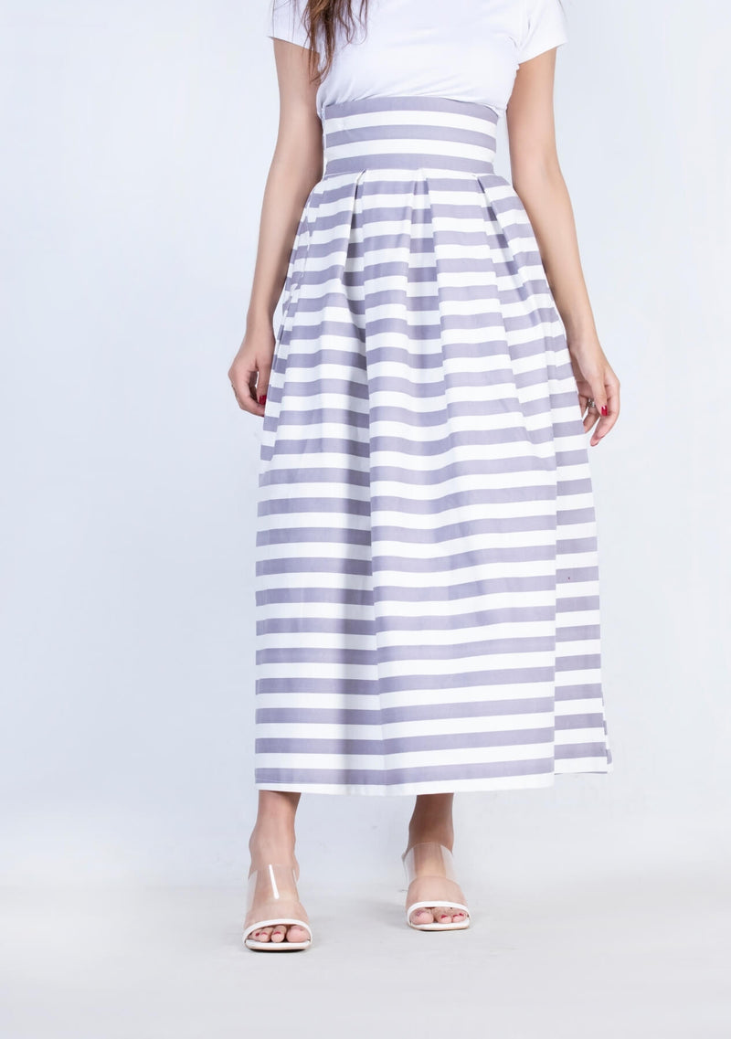 Pleated Skirt - mauve white striped