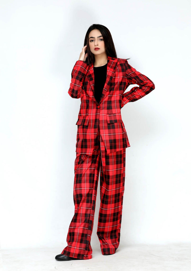 High rise wide leg pant in red black grid check