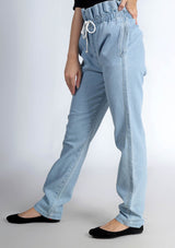 Denim Paper Bag Pant - Light Blue