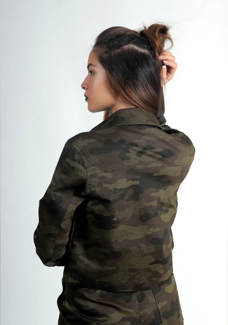 Cropped Jacket - Green Camouflage