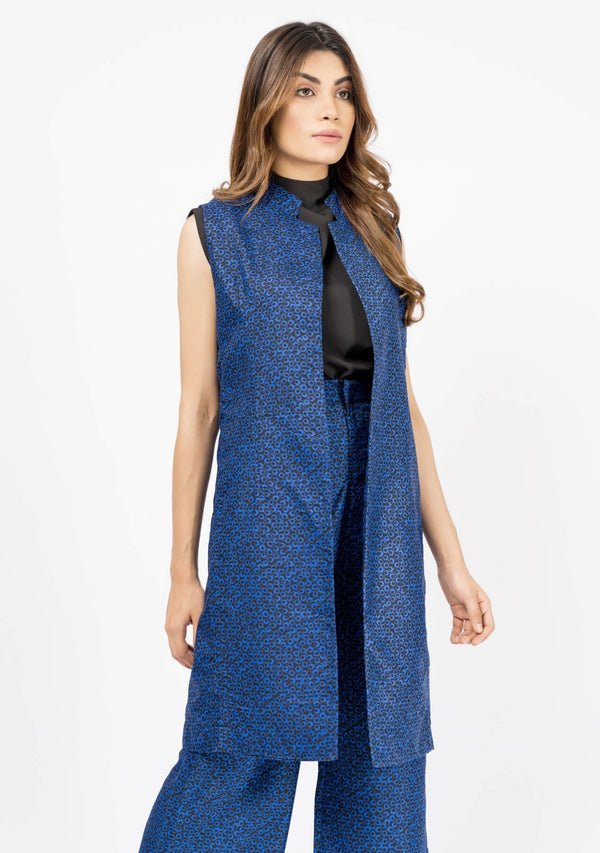 Sleeveless Long Waist Coat - Blue & Black Printed
