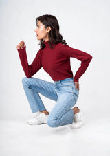Turtleneck Top - burgundy
