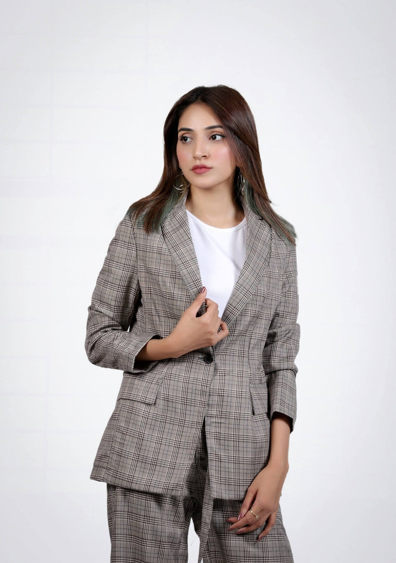 Long Blazer in grey grid check