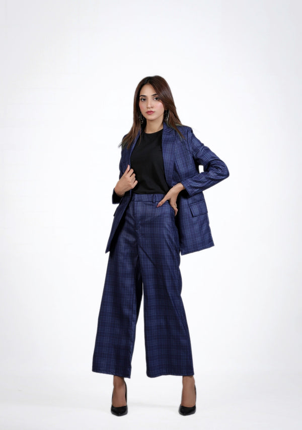 High Rise Wide Leg Pant in blue grid check