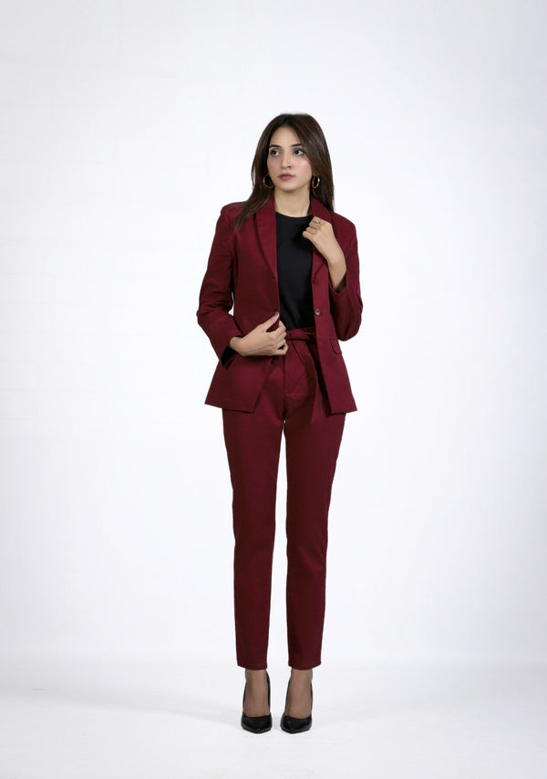 Straight Pant in maroon