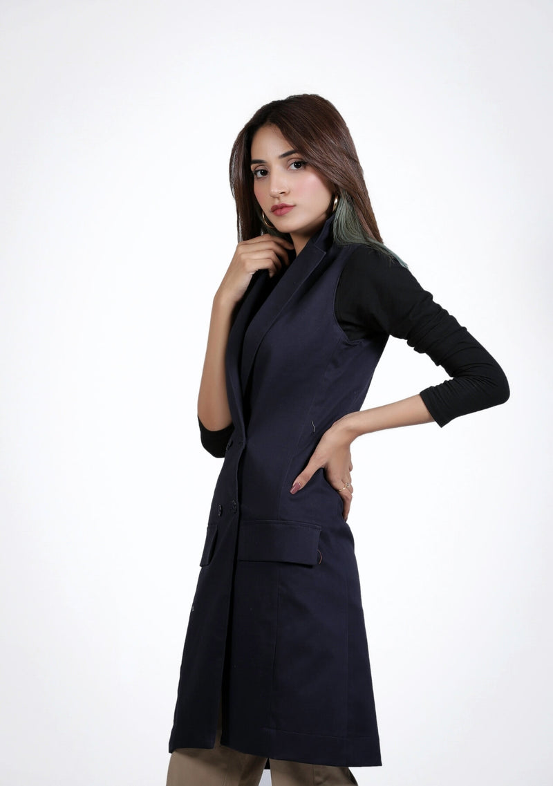 Long Vest - navy blue