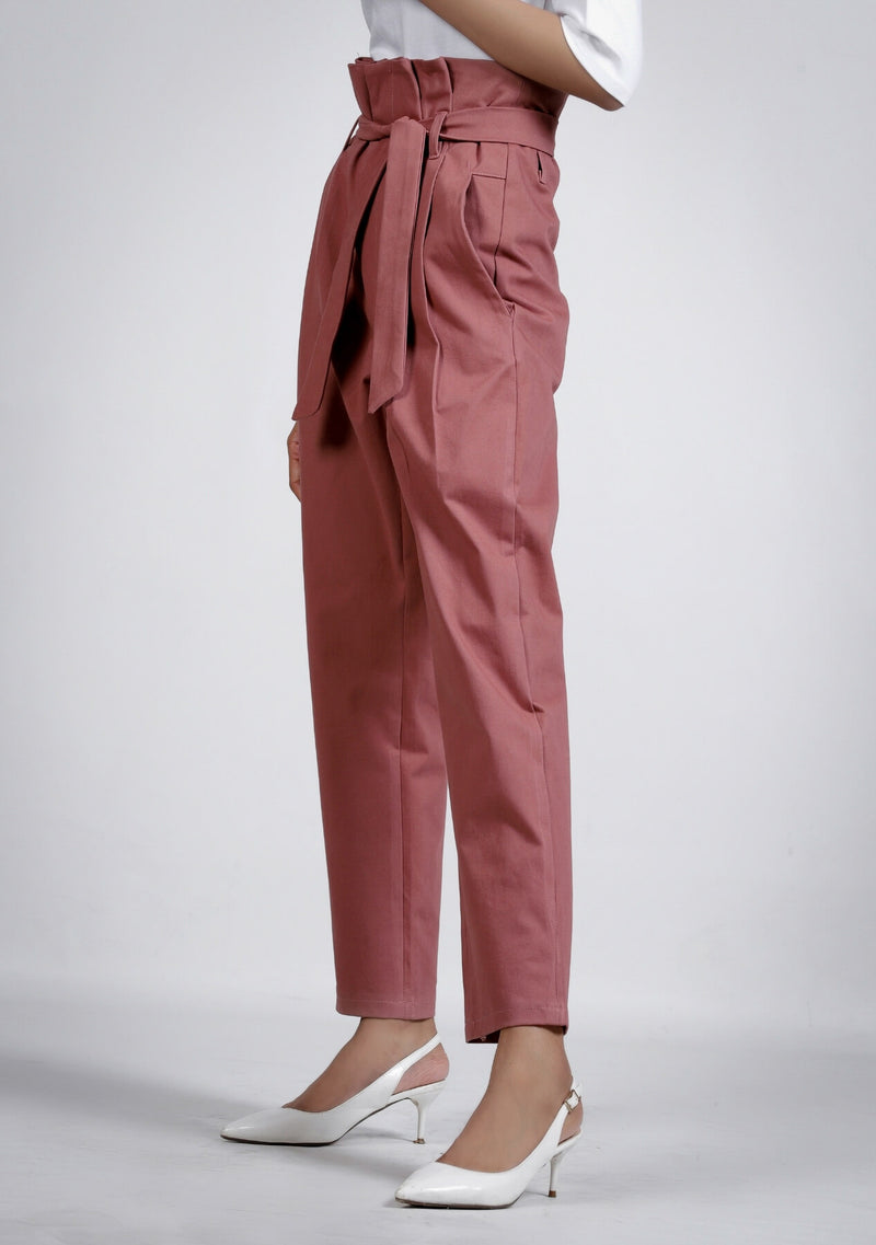 Pleated Paper Bag Pant in tea pink
