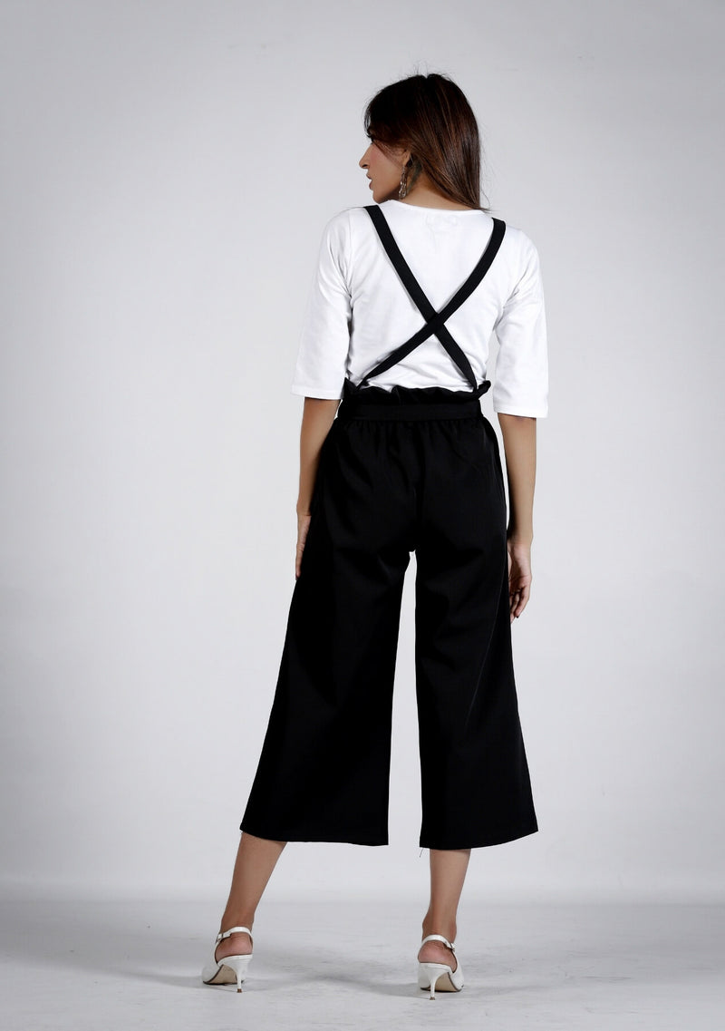 Wide Leg Paper Bag Pant - black with straps