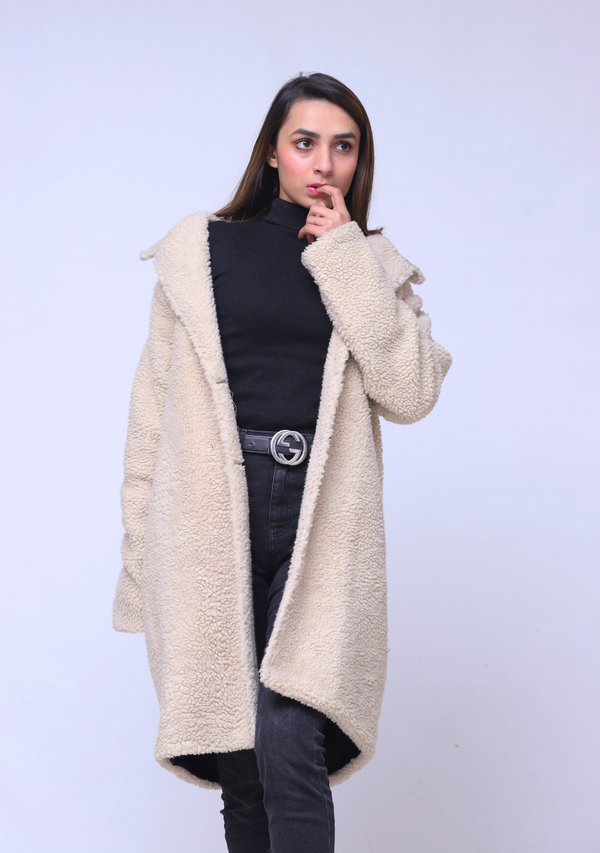 Faux Fur Oversized Coat - Beige