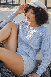 Fall In Line Long Sleeve Sweater Short Set (Pre-Order Item)