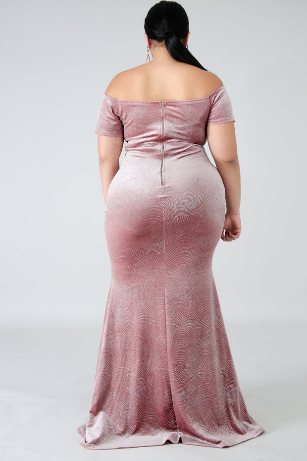 Flawless Glitter & Suede Maxi Dress