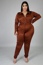 Power Stride Satin Bodysuit Pants Set