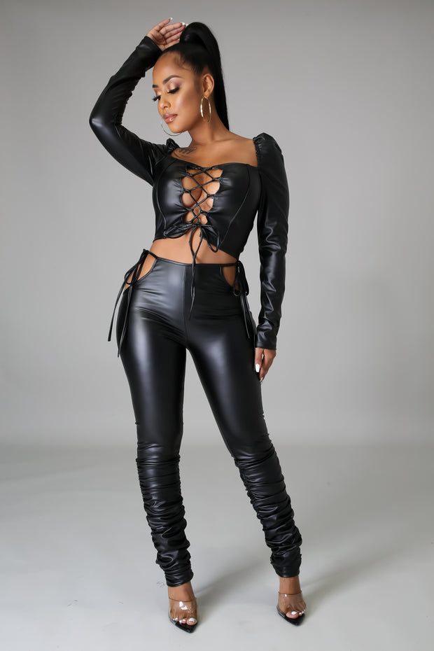 Just Slayed Faux Leather Pants Set