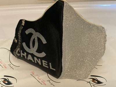 Designer Face Essentials (Chanel Black/Silver - Silver Logo)