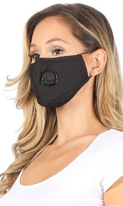 Solid Black Mask with Filter & Air Valve