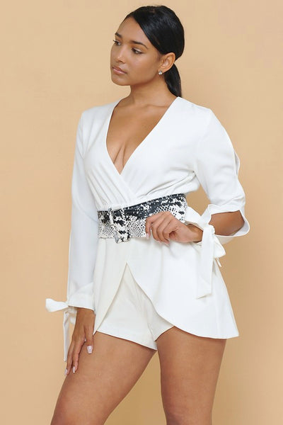 All White Romper with Snake Belt