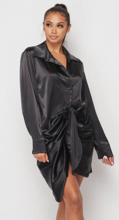 Sexy To The Touch Satin Shirt Dress