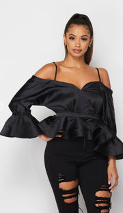 Long Time Love Satin Ruffle Top