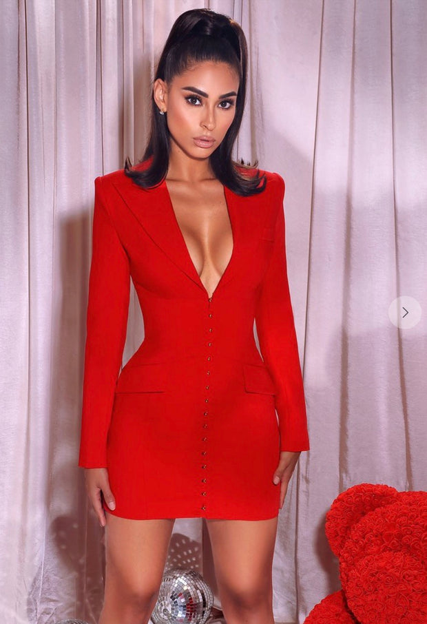 My Flirty Red Blazer Dress
