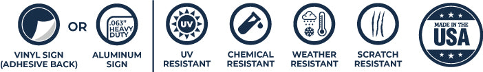 Aluminum sign and vinyl decal specifications.  UV and scratch resistance, weather and chemical resistant safety signs, parking signs.