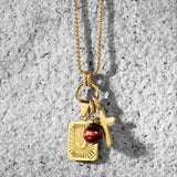 Red Tiger Eye Christian Necklace