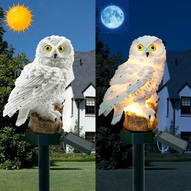 Night Owl Sculpture Solar Lamp for Garden