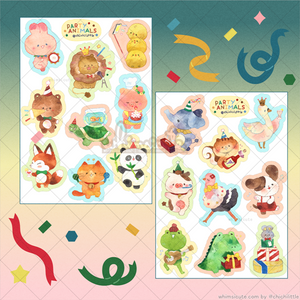 Watercolor Party Animals Sticker Sheets (2 Sheets)