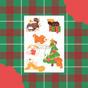 Christmas Cats Sticker Sheet