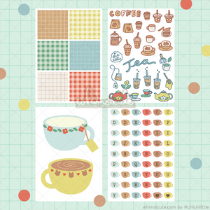 Coffee and Tea Sticker Sheet SET - Matte