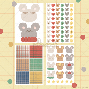 Mouse and Cheese Sticker Sheet SET - Matte