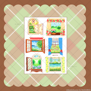Oil Pastel Country-style Windows Sticker Sheet