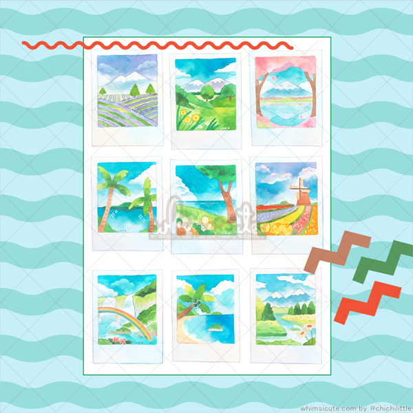 Watercolor Travel Polaroids Sticker Sheet
