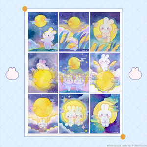 Watercolor Moon Bunnies Sticker Sheet