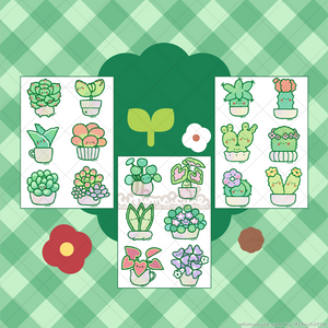 SET of Cacti, Succulents, and Potted Plants Sticker Sheets