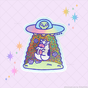UFO Glitter Holo Cow Vinyl Sticker (RESTOCKED!!!)