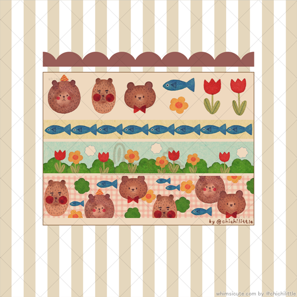KRAFT - Bears and Fish Sticker Sheet