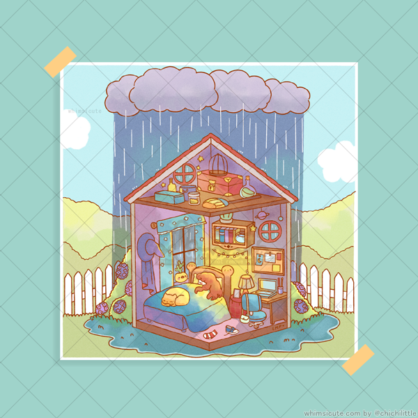More Rain, More Sleep Print 6in x 6in