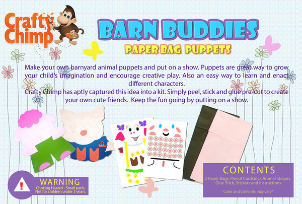 Barn Buddies - Paper Bag Puppets - CraftyChimp - 2